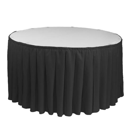21 ft x 29 Inch Polyester Pleated Table Skirts Black for round tables