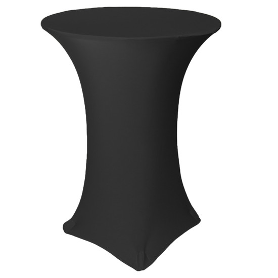 32 Inch Highboy Cocktail Round Stretch Spandex Table Cover Black