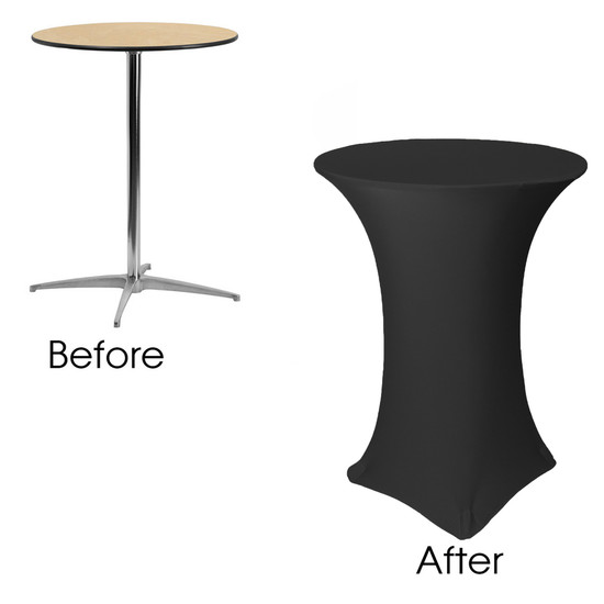 before after picture of spandex 32 inch cocktail table covers