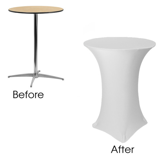 32 inch Highboy Cocktail Round Stretch Spandex Table Covers White before and after
