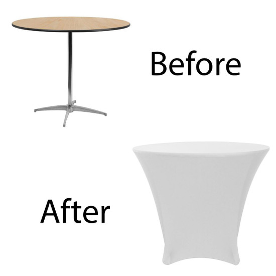 before after picture of lowboy cocktail table cover in white