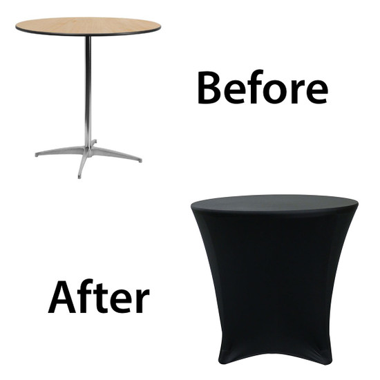 before after picture of spandex 30 x 30 cocktail lowboy table covers