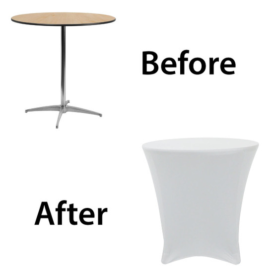 before after image of spandex 30 x 30 lowboy cocktail table cover