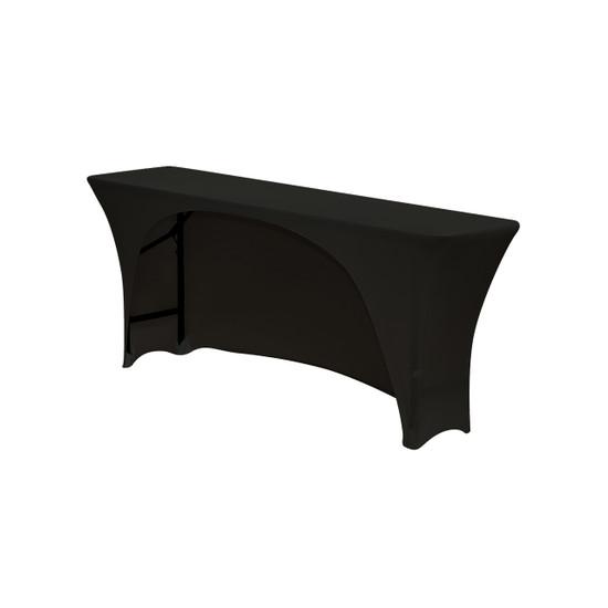 Spandex 6 Ft Open Back Rectangular Table Covers Black