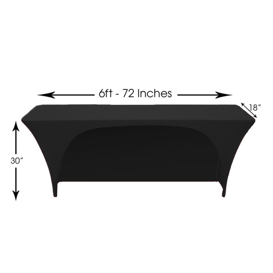 Stretch Spandex 6 ft x 18 Inches Open Back Rectangular Table Cover Black Dimensions