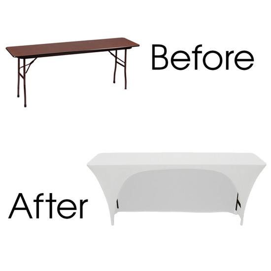 classroom white table covers spandex