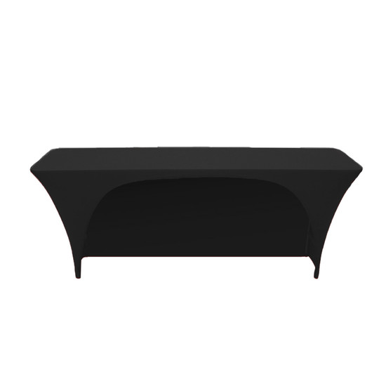 Spandex 8 Ft x 18 Inches Open Back Rectangular Table Covers Black
