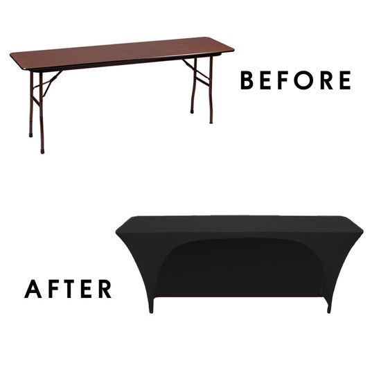 Open Back Rectangular Table Covers Before After