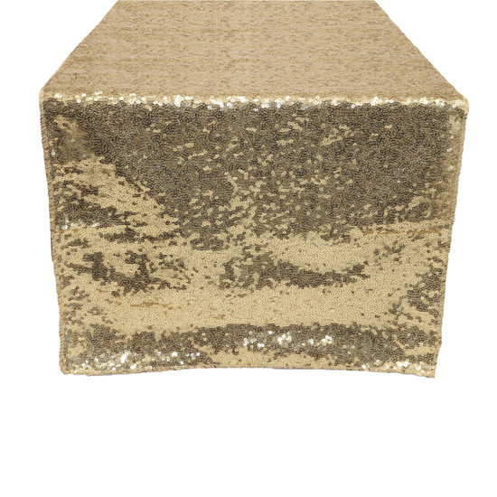 14 x 108 inch Glitz Sequin Table Runners Champagne