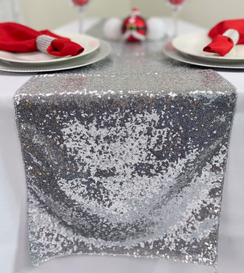 14 x 108 Inch Glitz Sequin Table Runner Silver