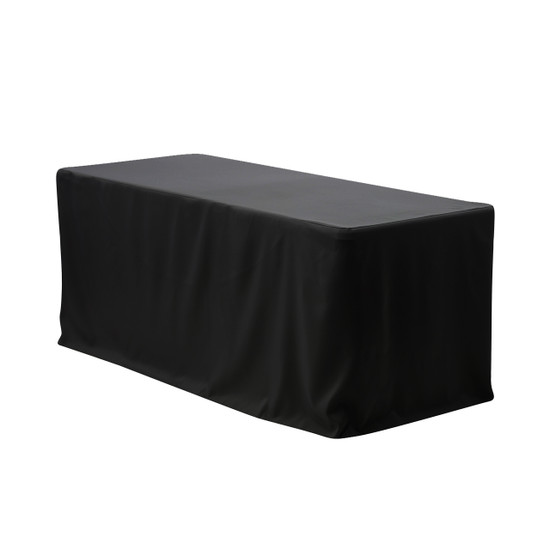 6 ft Fitted Rectangular Polyester Tablecloths Black