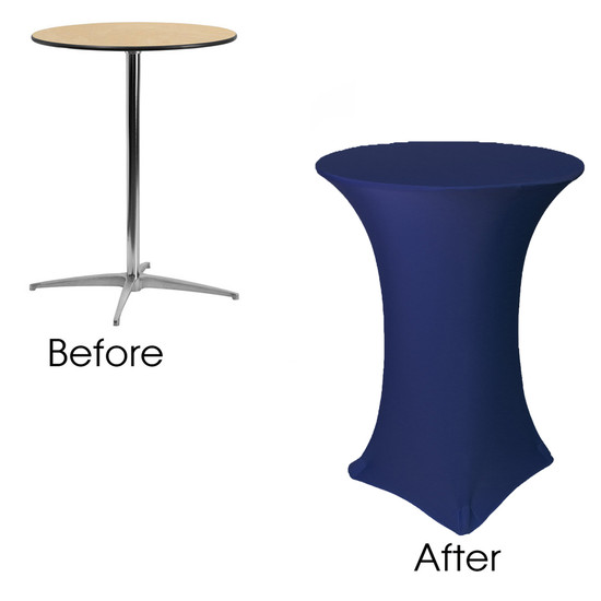 32 inch Highboy Cocktail Round Stretch Spandex Table Covers Navy Blue before and after