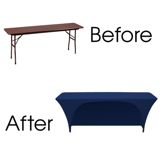 before and after spandex open back rectangular table covers navy blue