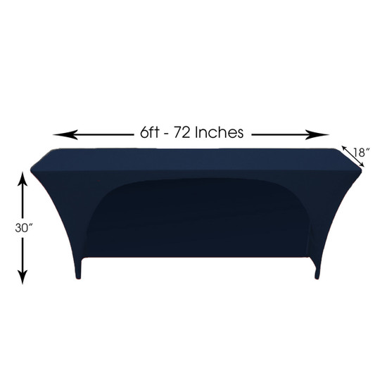 Spandex 6 Ft x 18 Inches Open Back Rectangular Table Covers Navy Blue Dimensions