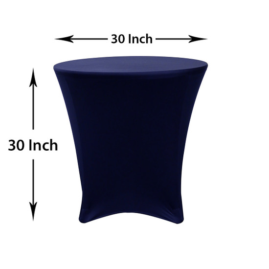 30 x 30 inch Lowboy Cocktail Round Stretch Spandex Table Covers Navy Blue Dimensions