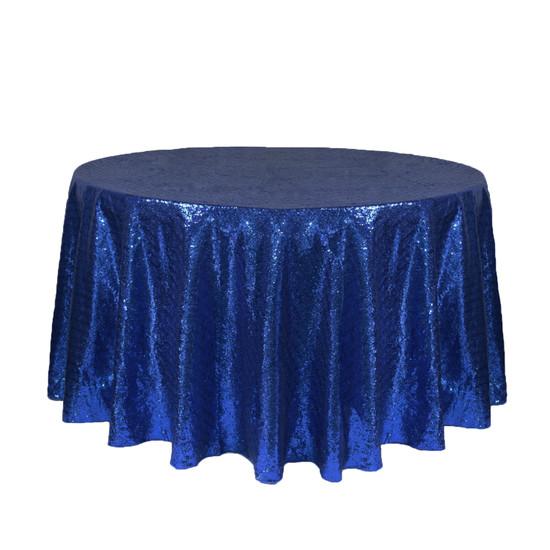 120 inch Round Glitz Sequin Tablecloth Navy Blue