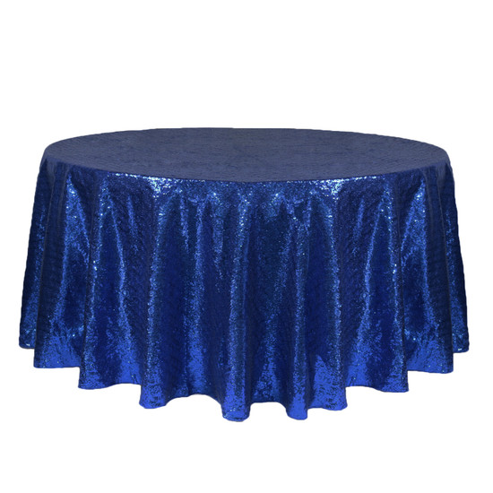 132 inch Round Glitz Sequin Tablecloth Navy Blue