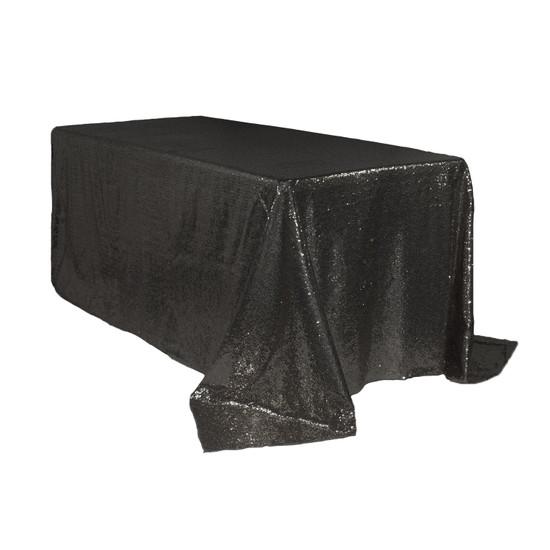 90 x 132 inch Rectangular Glitz Sequin Tablecloth Black