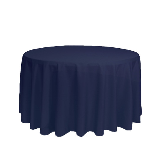 108 inch Round Polyester Tablecloth Navy Blue