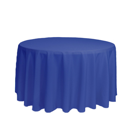 108 inch Round Polyester Tablecloth Royal Blue