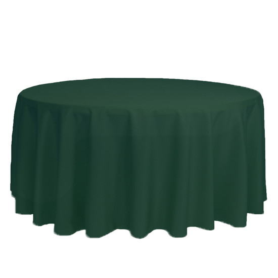 132 inch Round Polyester Tablecloth Hunter Green