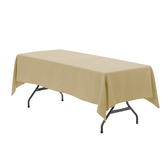 60 x 126 inch Rectangular Polyester Tablecloth Champagne