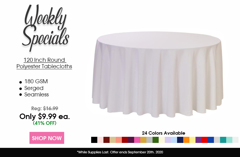 Polyester 120 inch Round Tablecloths