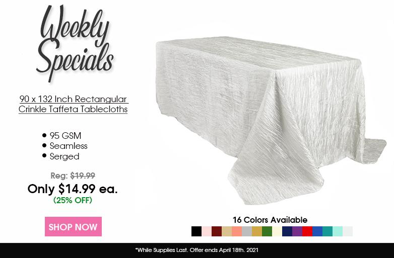 Crinkle Taffeta 90 x 132 Inch Rectangular Tablecloths