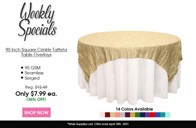 90 inch square crinkle taffeta overlays