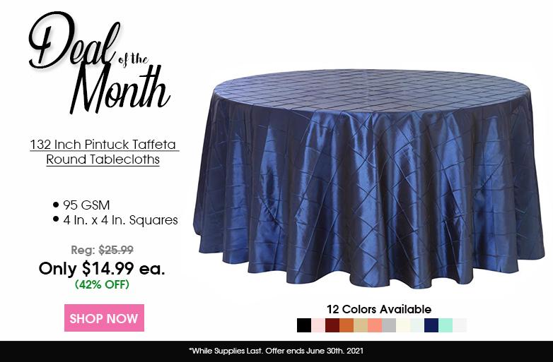 Pintuck Taffeta 132 inch Round Tablecloths