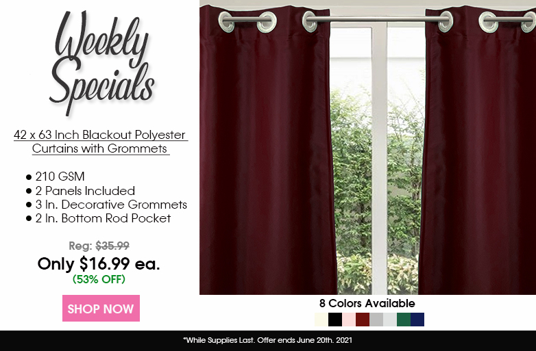 42 X 63 Inch Blackout Polyester Curtains with Grommets