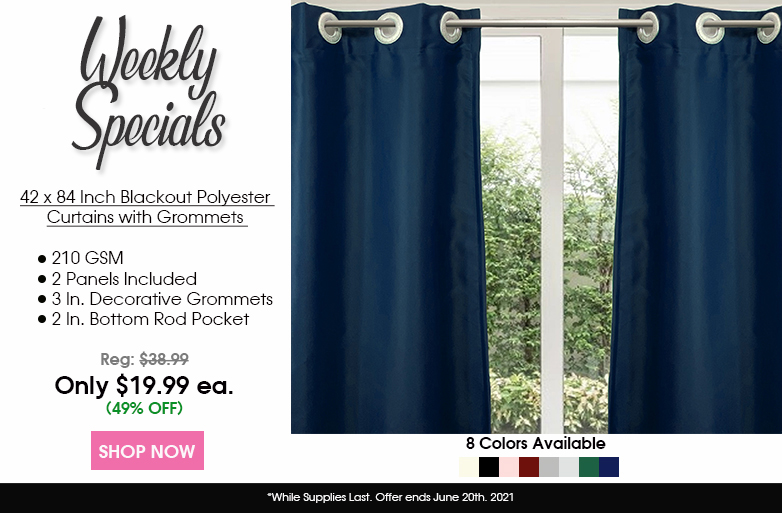 42 X 84 Inch Blackout Polyester Curtains with Grommets