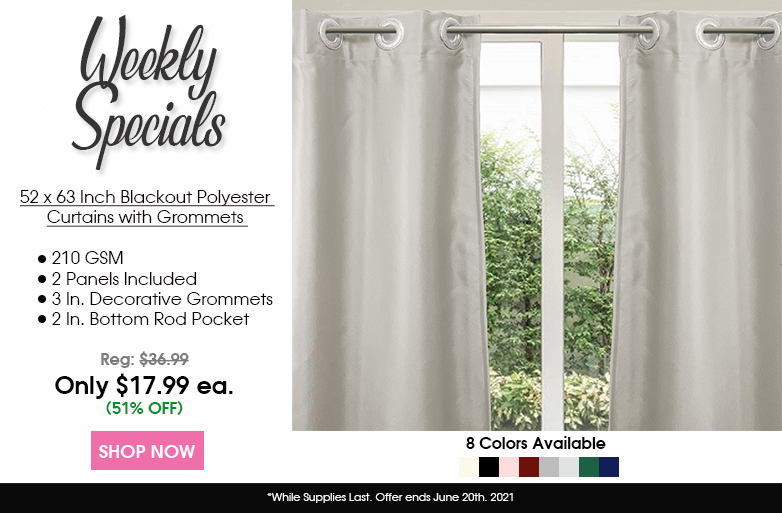 52 X 63 Inch Blackout Polyester Curtains with Grommets
