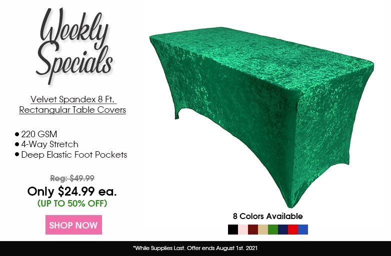 Velvet Spandex 8 foot table covers