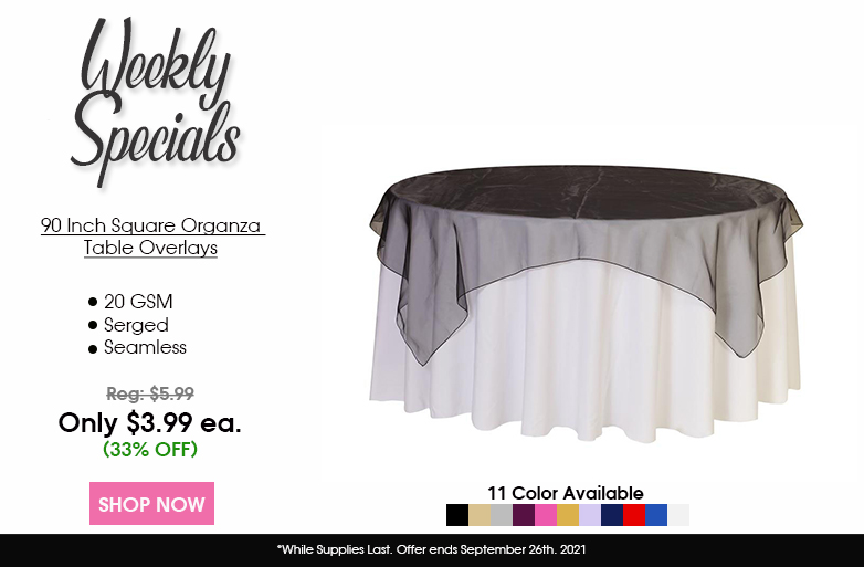 90 inch square organza table overlay