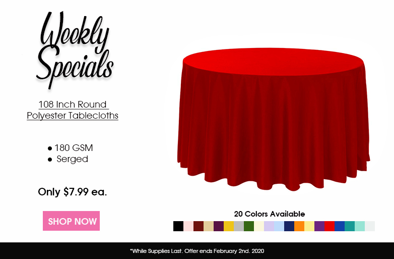 Polyester 108 inch round tablecloths