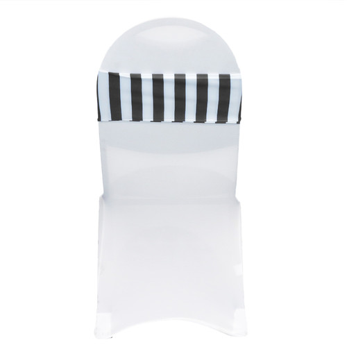 10 Pack Stretch Spandex Striped Chair Bands Black White