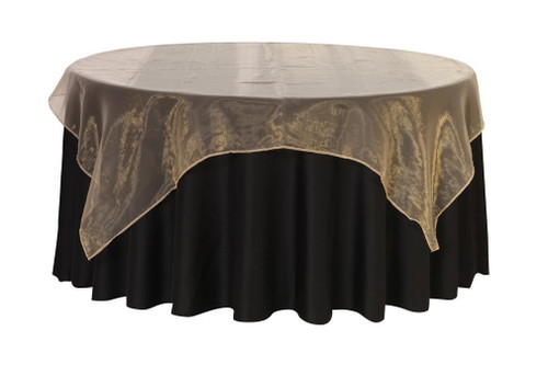 72 Inch Square Organza Table Overlay Champagne Your