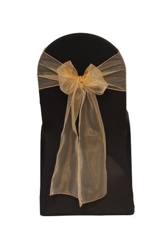 10 Pack Organza Sashes Gold Your Chair Covers Inc