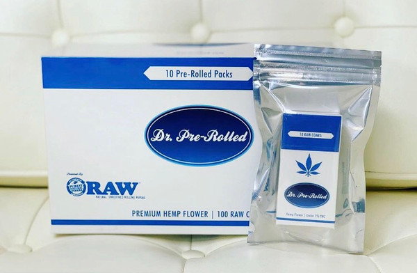 10 CBD Pre-Rolled Packs, 100 Raw pre-rolled cones