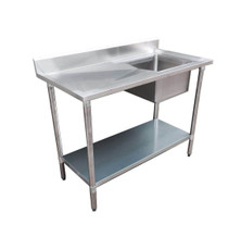 1200-6-SSBR Economic 304 Grade Stainless Steel Single Sink Benches 600 Deep