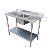 1500-6-SSBC Economic 304 Grade Stainless Steel Single Sink Benches 1500mm Width 600 Deep