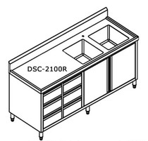 DSC-2100R-H 2100mm Width Kitchen Tidy Premium Stainless Steel Cabinet With Double Sinks, Doors & Drawers