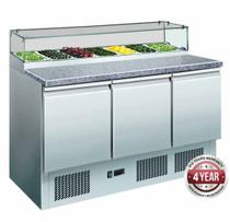 GNS1300E 444Ltr Three Door Salad Marble Prep Top 1368mm Width