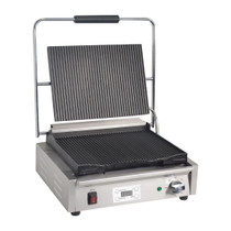 FC380-A Apuro Large Contact Grill Ribbed Plates with Timer 480mm W x 215 H x 435 D