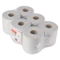 DL920 Jantex Centrefeed White Roll Paper Towels (Pack of 6)