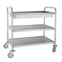 CC365 Vogue Stainless Steel 3 Tier Deep Tray Clearing Trolley