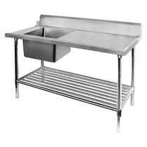 SSBD7-1200L/A - Left Inlet Single Sink Dishwasher Bench 1200mm Width