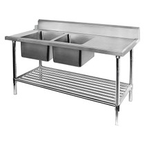 DSBD7-1800L/A Left Inlet Double Sink Dishwasher Bench 1800mm Width