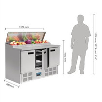 G605-A Polar G-Series 3 Door Salad & Pizza Prep Counter Stainless Steel 390Ltr
